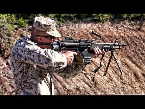 U.S. Marines Fire Belgium FN Minimi & French FAMAS G2