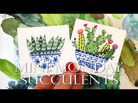 Watercolor Painting Ideas for Beginners /Succulents/Mini Monday Madness #14/ Cactus and Aloe Plant
