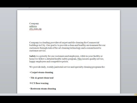 Sample proposal for janitorial services and commercial