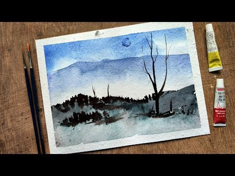 Watercolor painting | Watercolor tutorial of simple Mountain Landscape with Step by Step