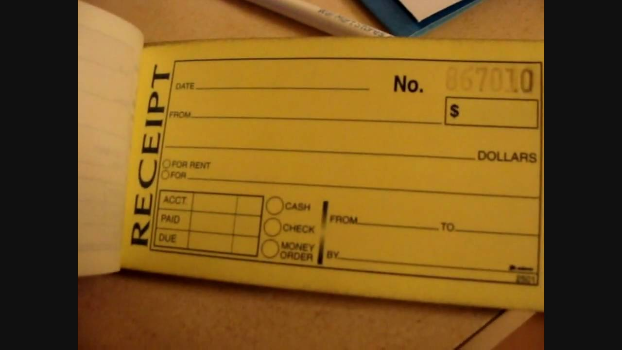 Dj tip Receipt book YouTube – Payment Receipt Book
