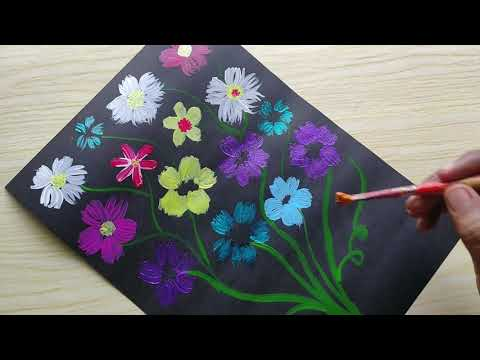 Acryllic and Fabric color easy flower painting for beginners using simple technique #painting #art