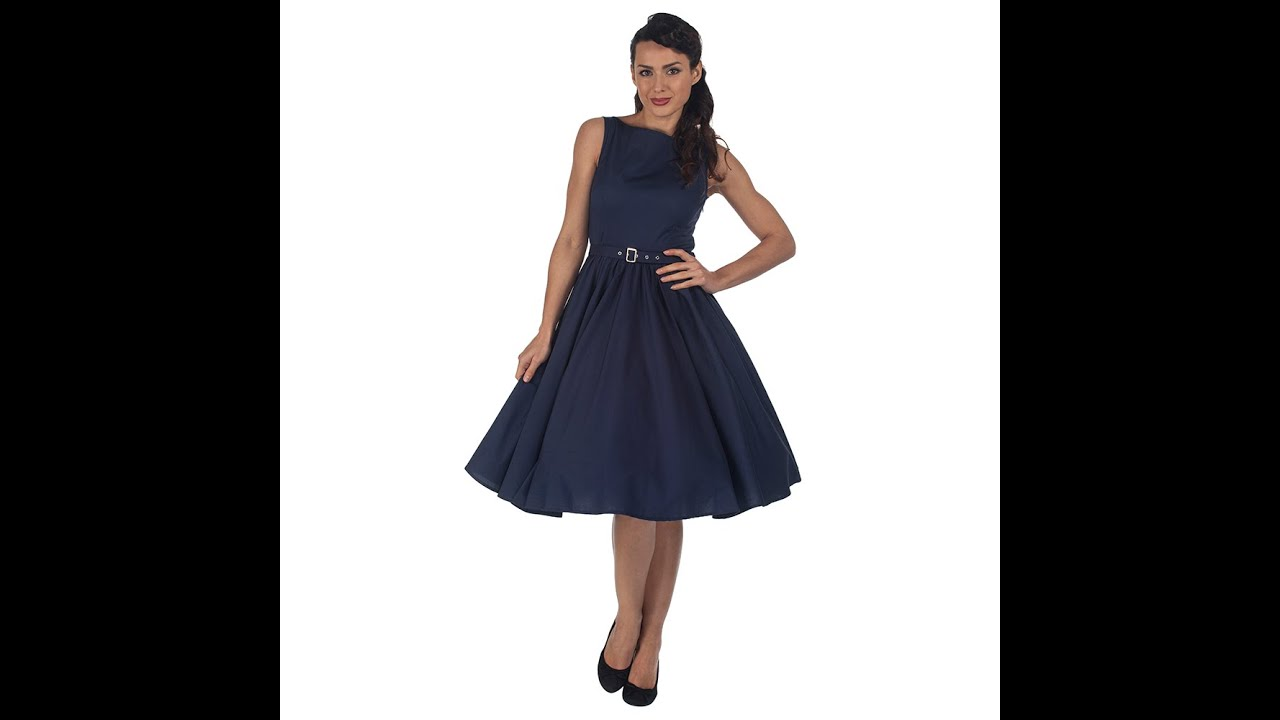 Pretty Kitty Fashion Vintage Inspired Navy Audrey 50s Style Dress ...