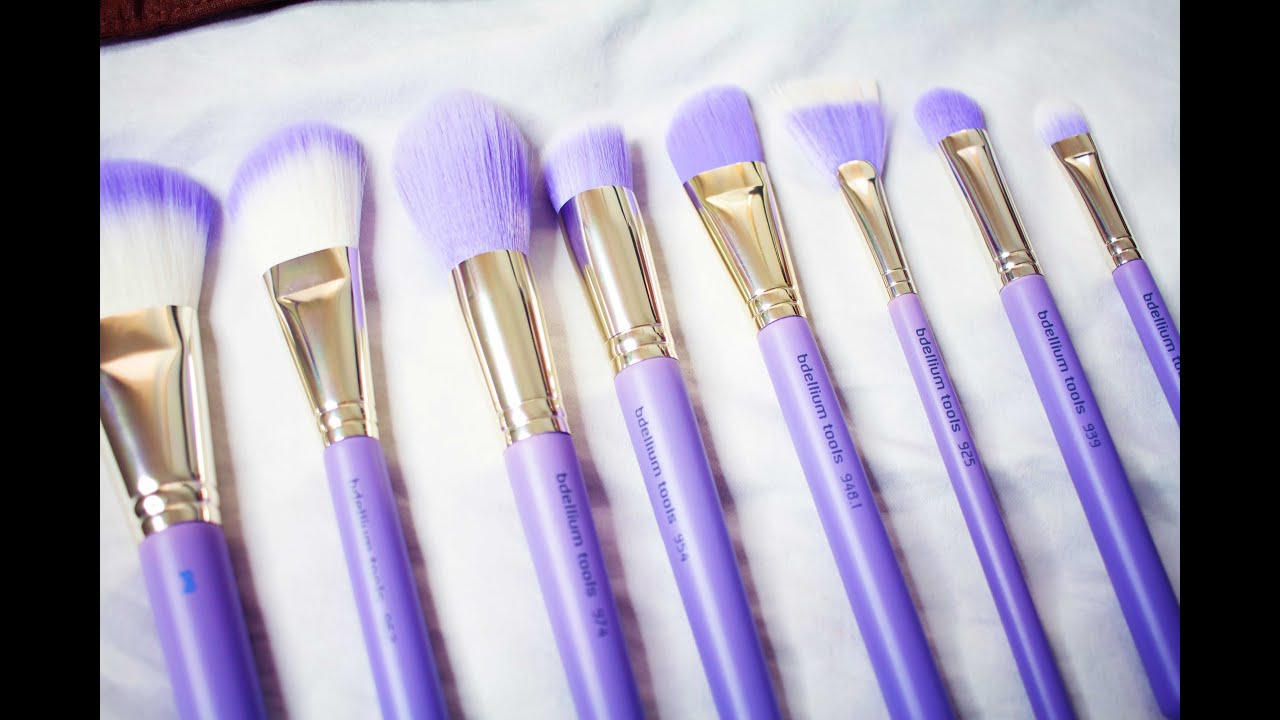 purple makeup brushes. new makeup brushes for my collection | bdellium tools purple k
