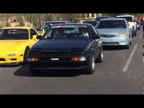 Ae86 hatch at Las Vegas car show pulling in
