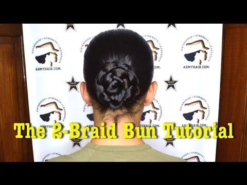 Army Hair 2 Braid Bun Tutorial Youtube