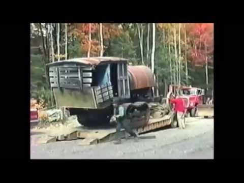 Lombard Steam Log Hauler Arriving at Maine Forest and Logging Museum in 1989