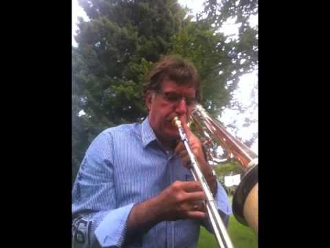 Ben van Dijk basstrombone - 2012 outdoor study during vacation Belgium