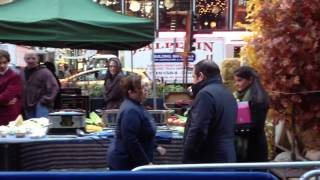 Zombie looking at Emeril Lagasse at GMA in Times Square, New York