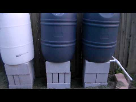 Rain Barrel Set Up for 220 gallons and counting