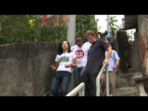 Prince Harry visits the slums of Rio de Janeiro