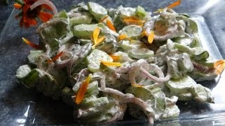 Organic Garden Cooking - Creamy Cucumber Dill Salad Recipe With Calendula And French Tarragon