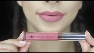 Anastasia Beverly Hills Dusty Rose liquid lipstick swatch