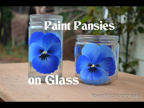 how to paint pansies on glass youtube. Black Bedroom Furniture Sets. Home Design Ideas