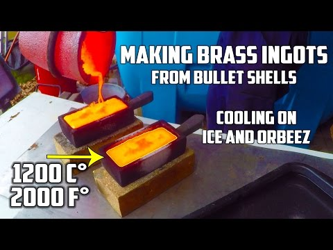 "Thumbnail: Making ""Gold"" (brass) Ingots from Bullet Shells and cooling them on ICE and ORBEEZ"