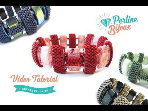 Tutorial Bracciale Double Carrier lavorato a Peyote Pari con Delica - Perlinebijoux