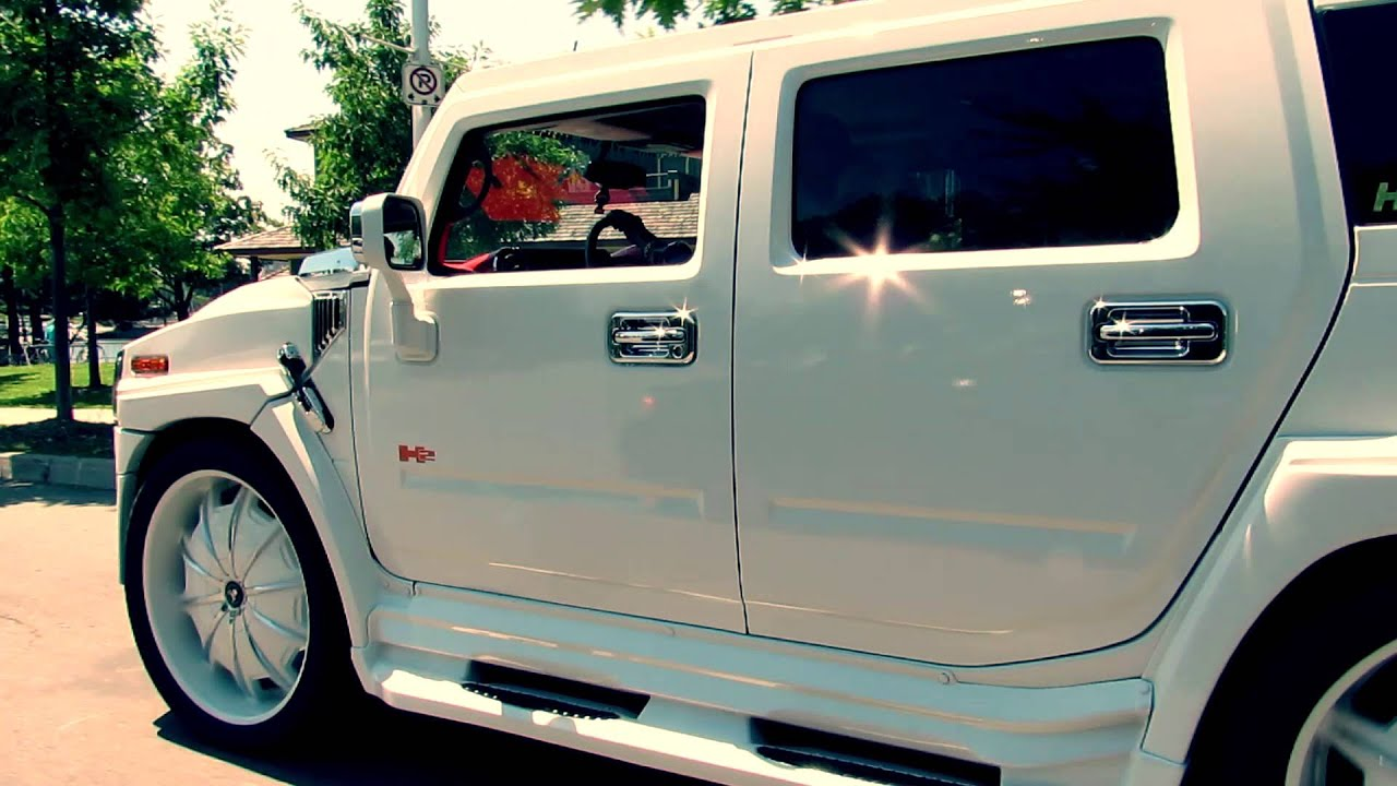 CUSTOM WHITE HUMMER H2 WITH 34 INCH CUSTOM WHITE RIMS X ...