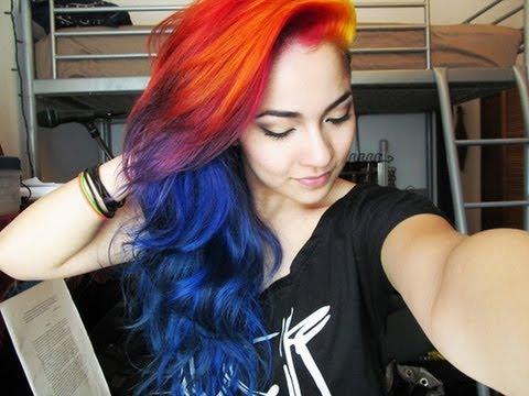how i did my sunset rainbow hair youtube
