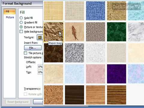Create a Texture Background in PowerPoint 2007 - YouTube