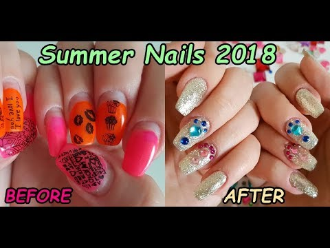 diy refill gel nails summer 2018 glam glitter nail art