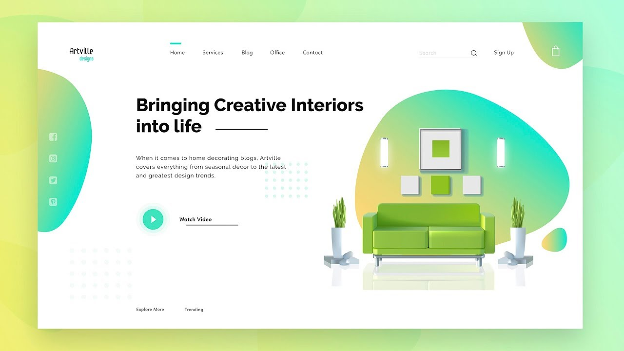 Ui Design Tutorial Design Latest Website In Adobe Xd Learn Ui Ux Designing