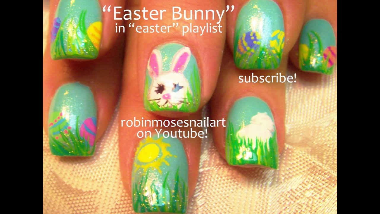 Easy Easter Nails Cute Hiding Bunny And Eggs Spring Nail Art Design Youtube