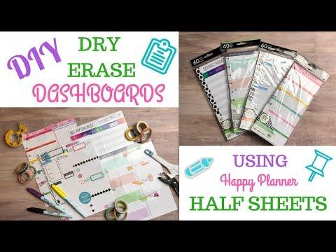 DIY | Dry Erase Dashboards | Happy Planner Half Sheets