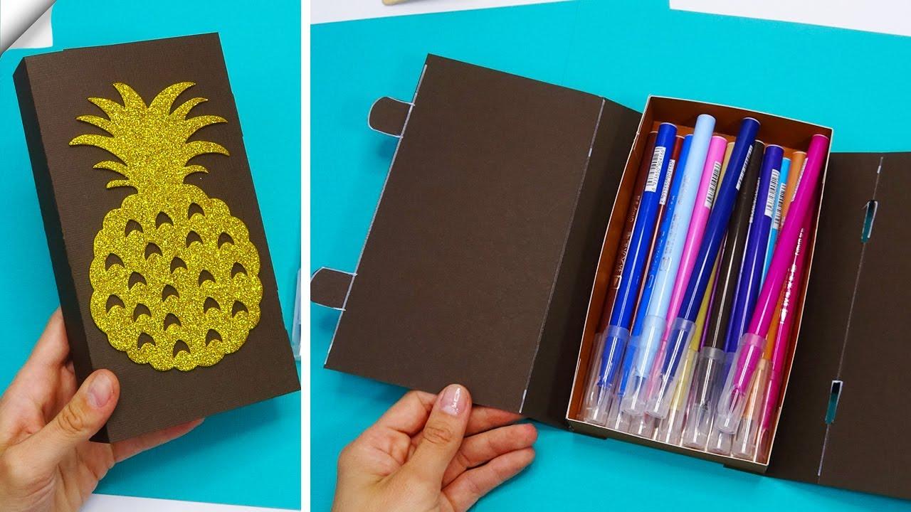 How to make a paper pencil box | DIY paper pencil box idea | Paper crafts for school