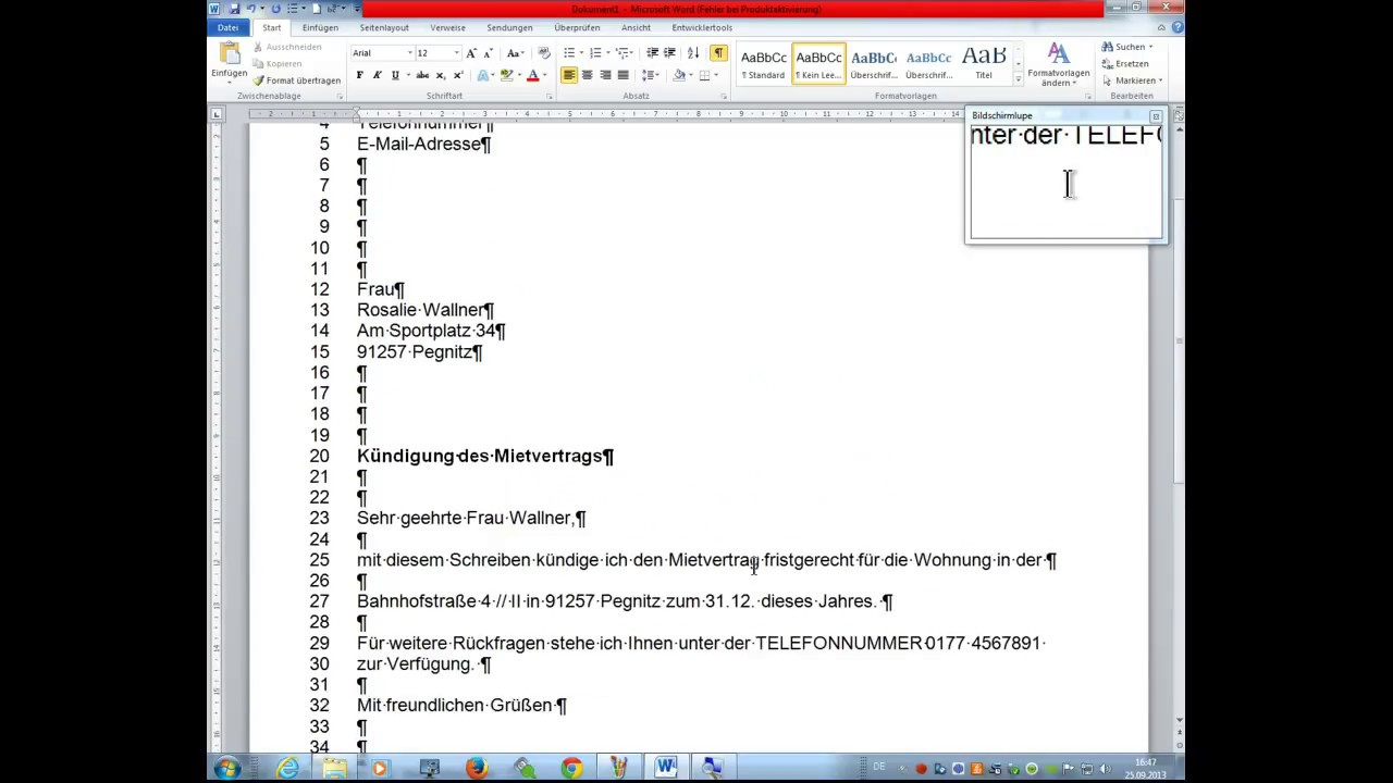 Ms Office Word 2010 Tutorial Privatbrief Nach Din 5008 Erstellen