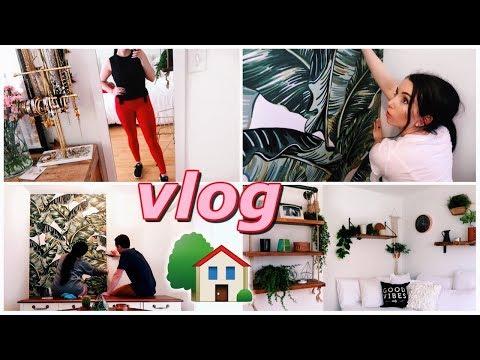 Removable Wallpaper DIY, Bedroom Decor, Workout Haul   Vlog