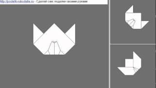 Мордочка медведя из бумаги - оригами