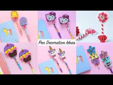 Pen Decoration Ideas   6 Easy DIY Pen & Pencil Decorations   Back to School Supplies