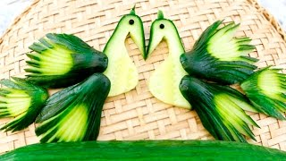 Repeat youtube video Art In Cucumber Peacock | Vegetable Carving Garnish | Food Decoration | Party Garnishing