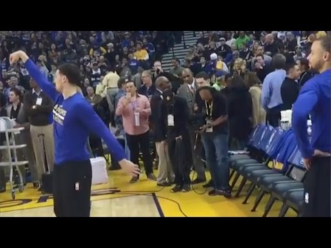 Klay Thompson STEALS Ball From Steph Curry, Steph Responds with Near Half-Court Shot