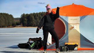 ЛЕЩИ НЕ СПЯТ Рыбалка весной С НОЧЕВКОЙ Ловля СО ЛЬДА НА ВОДОХРАНИЛИЩЕ 24 часа в палатке 232