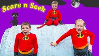 Incredibles 2 Assistant and Batboy Ryan Play Scare n Seek with Baby Jack Jack