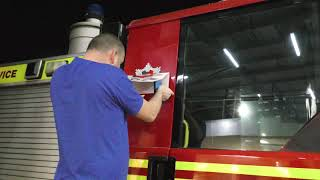 I bought a scrap fire engine series.  Applying the service badges and name plate to the Dennis Sabre