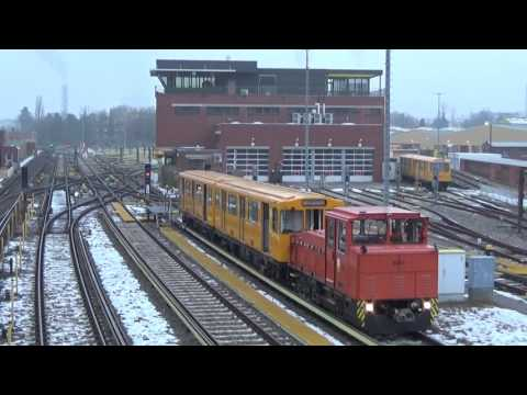 Berlin U-Bahn Engineering Locomotive No. 4051 shunting A3L92 stock at Grunewald Depot