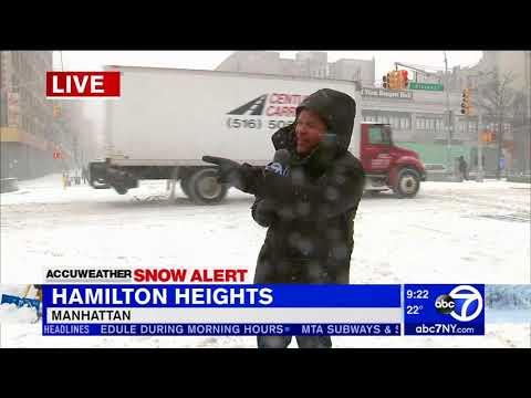 Wind, snow making for slick sidewalks in Manhattan