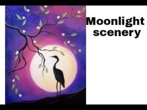 Moonlight Scenery With Bird Poster Color Painting Simple Paiting