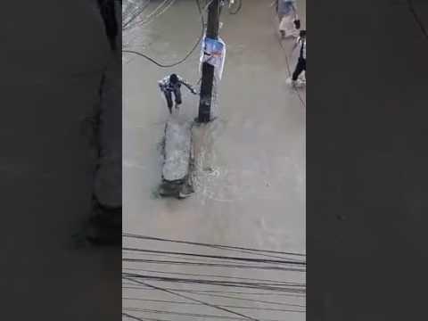 Girl swept in Kathmandu road