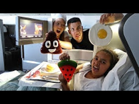 Real Food VS Gummy Gross Giant Candy Challenge Business Class Airplane Flight Editin