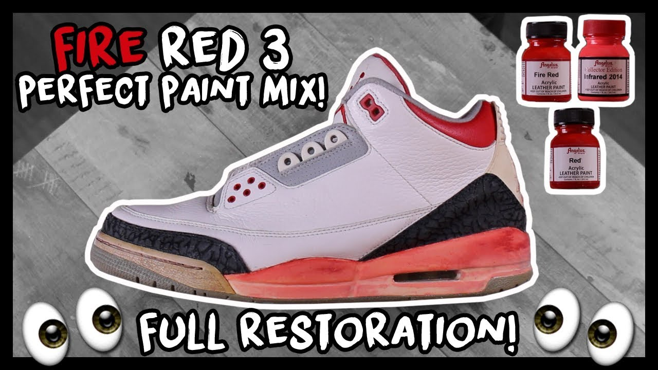 huge discount 28e4b 4eea8 2013 AIR JORDAN FIRE RED 3 FULL RESTORATION WITH PAINT MIX!