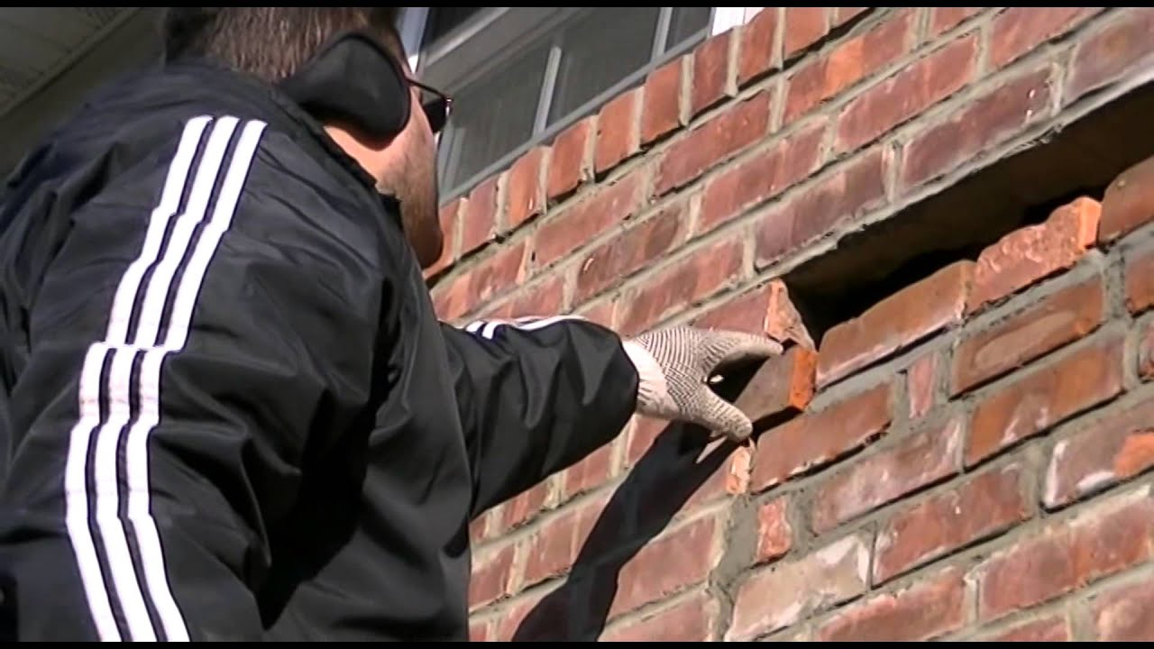 Air Wall Sawing : How to re brick an a c hole youtube
