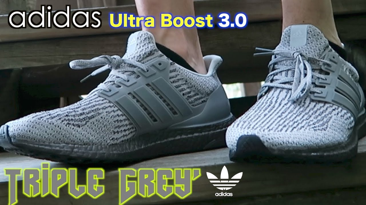 aa00da19ee8a1 Adidas UltraBoost 3.0 Triple Grey ON FEET Review!! - YouTube
