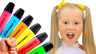 Eva Pretends play with Magic Pen Preschool toddler learn color