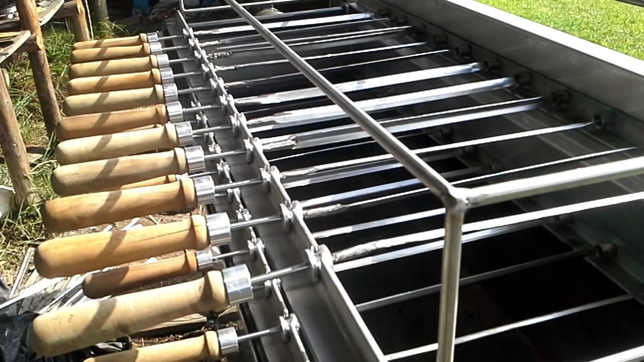 Rodizio asador motorizado 23 espadas youtube for Asador de ladrillo para jardin