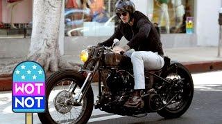 Easy Rider David Beckham Cruises Around LA On A Vintage Motorbike