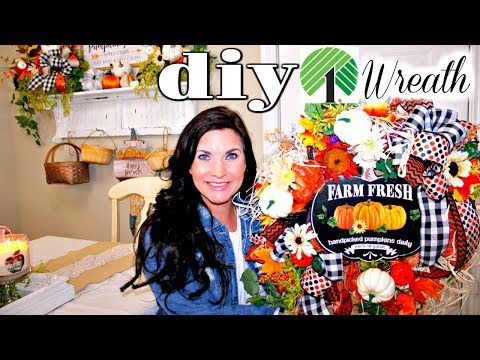 "🍁""Extra"" DIY DOLLAR TREE FALL WREATH CRAFT DECO MESH 2019🍁""I LOVE FALL"" ep18 Olivia's Romantic DIY"