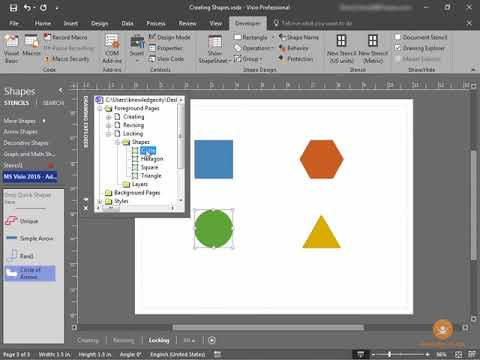 Protecting and Locking Shapes in Visio 2016